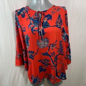 Red and Blue Print Bell Sleeve Blouse